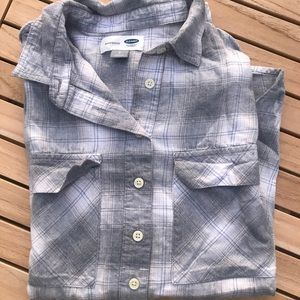 Grey Plaid Half-Button Boyfriend Flannel, Sz Sm